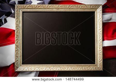 Blank frame on American flag background