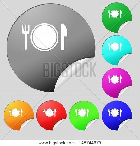 Plate Icon Sign. Set Of Eight Multi Colored Round Buttons, Stickers. Vector