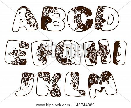 English cartoon alphabet in mehndi style. Ornamental henna font for design