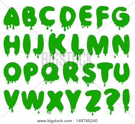Smudge cartoon font. Stock vector alphabet for Halloween design