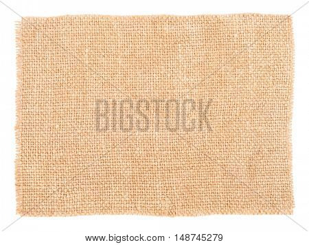 Sackcloth material isolated on white