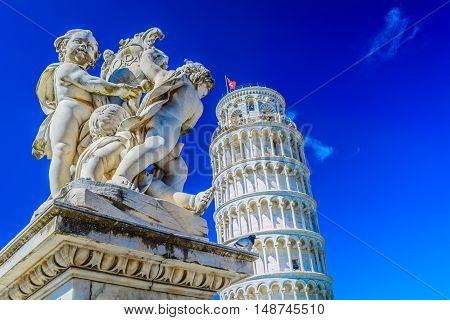 View at european landmark Leaning Tower in Pisa, Italy.