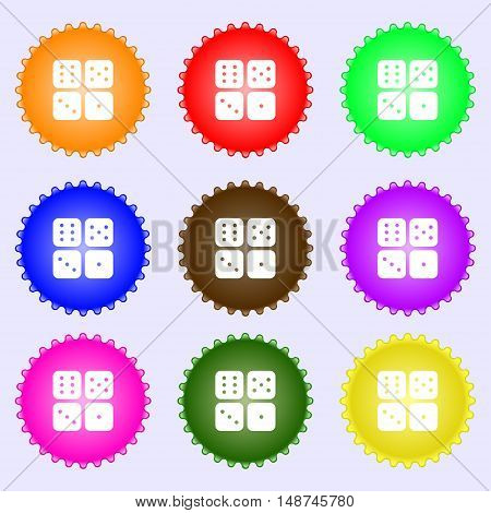 Dices Icon Sign. Big Set Of Colorful, Diverse, High-quality Buttons. Vector