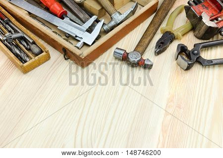 Set Of Various Old Tools And Instruments For Construction And Repair