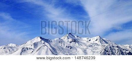 Panoramic View On Winter Snow Mountains