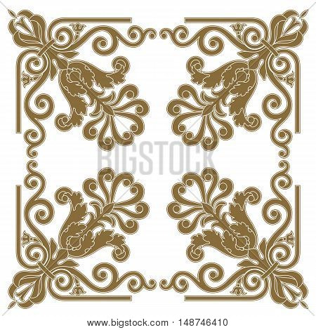 Golden ornament, vintage ornament, baroque ornament, frame ornament, scroll ornament, border ornament, floral ornament, pattern ornament. vector
