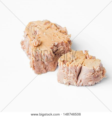 tuna fish isolated on white background / pieces of canned tuna on white background
