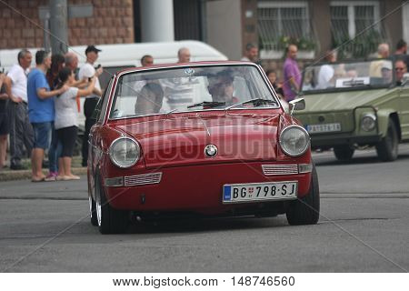 BELGRADE,SERBIA - SEPTEMBER 10, 2016: Old BMW at the commercial race of old cars in memory of formula 1 race held on the same place in 1939 two days after the beginning of Second World War when the famous Italian driver Tazio Nuvolari won