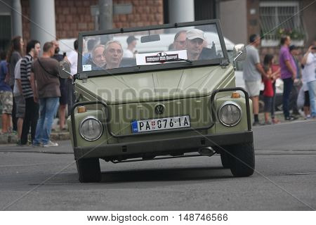 BELGRADE,SERBIA - SEPTEMBER 10, 2016: Old Wolksvagen at the commercial race of old cars in memory of formula 1 race held on the same place in 1939 two days after the beginning of Second World War when the famous Italian driver Tazio Nuvolari won