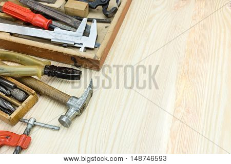 Wooden Toolbox With Old Instruments And Tools For Hand Work