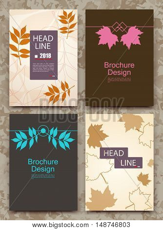 Abstract composition autumn event card leaves theme advertisement sale-out discount certificate clearance flyer biological icon botanical print eco design ecological EPS 10 vector