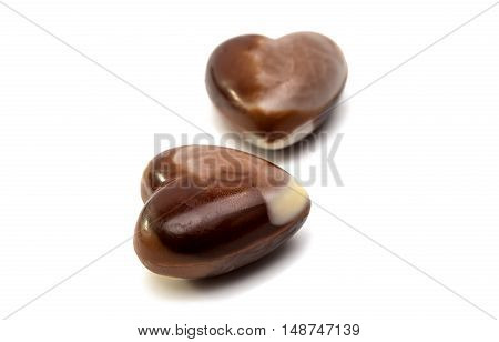 Swiss chocolates candy on a white background