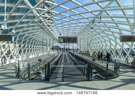The Hague the Netherlands - September 24 2016: The Hague the Netherlands - September 24 2016: Modern metro station The Hague central station