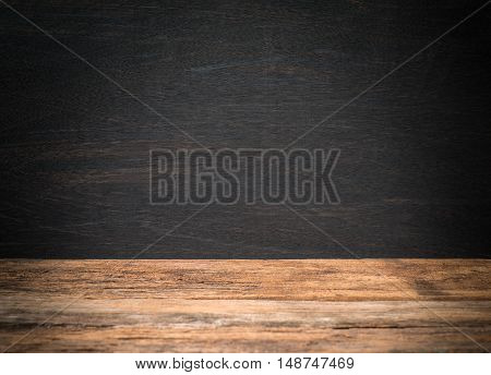 blackboard with wood table for background .