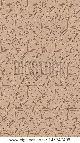Seamless school, stationery vector pattern, background, texture