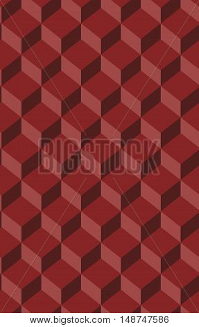 Seamless red cubial vector pattern, background, texture