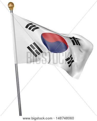 National flag for country of South Korea isolated on white background, 3D rendering