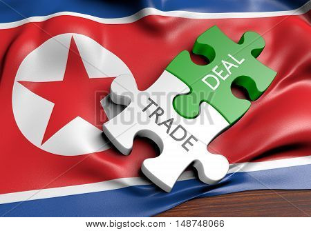 North Korea trade deals and international commerce concept, 3D rendering