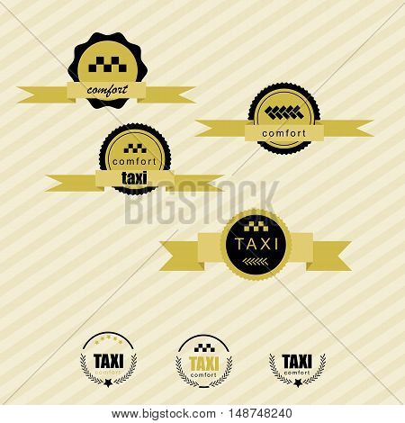 Taxi vintage labels and emblems template. striped retro background
