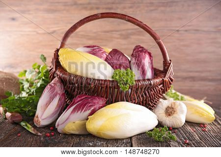 wicker basket with raw chicory