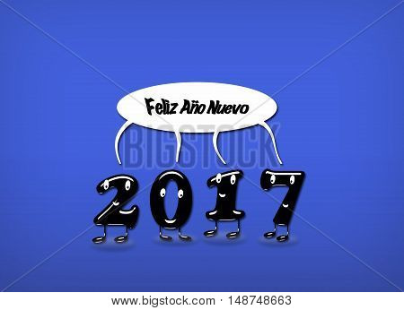 Cartoon of 2017 numerals with speech buble with text Happy New Year written in Spanish. 3d rendering.