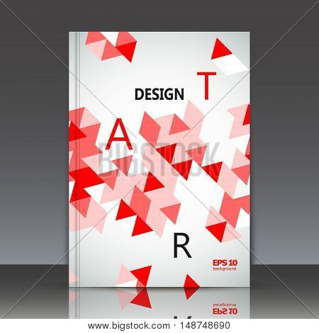 Abstract composition geometric ornament a4 brochure title sheet red triangle puzzle ceramic mosaic inlay figure surface backdrop logo construction firm sign base EPS 10 vector