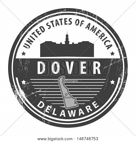 Grunge rubber stamp with name of Delaware, Dover, vector illustration