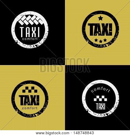 Set of vintage taxi label.  vector image