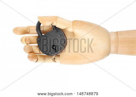 Wooden hand holding padlock on white background