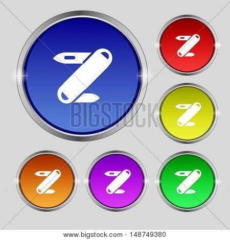 Pocket Knife Icon Sign. Round Symbol On Bright Colourful Buttons. Vector