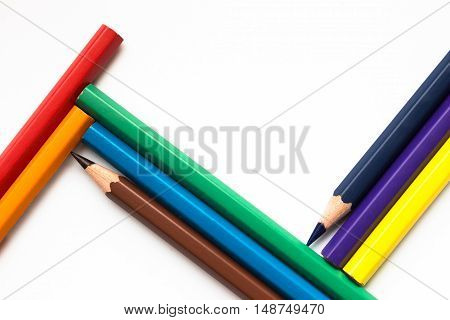 Color pencil with copy space isolated on white background