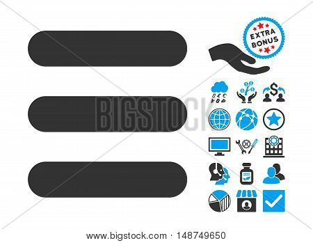 Stack icon with bonus symbols. Vector illustration style is flat iconic bicolor symbols, blue and gray colors, white background.