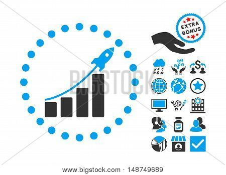 Startup Sales pictograph with bonus images. Vector illustration style is flat iconic bicolor symbols, blue and gray colors, white background.