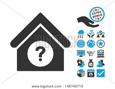 Status Building icon with bonus design elements. Vector illustration style is flat iconic bicolor symbols, blue and gray colors, white background.