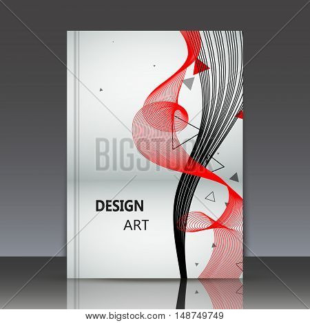 Abstract composition shiny geometric shapes flare visual colored line light flying triangle radiance icon logo construction a4 brochure title sheet firm sign backdrop EPS 10 vector