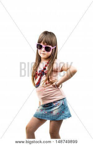 fashionista little girl isolated on white background
