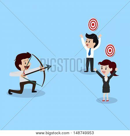 businessman shooting arrow to business goal.illustration business cocept.