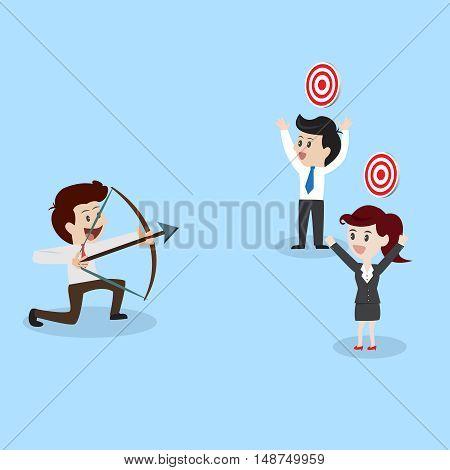 businessman shooting arrow to business goal.Vector illustration business cocept.