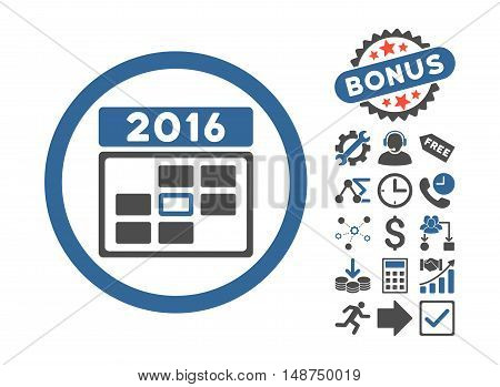 2016 Date icon with bonus symbols. Glyph illustration style is flat iconic bicolor symbols, cobalt and gray colors, white background.