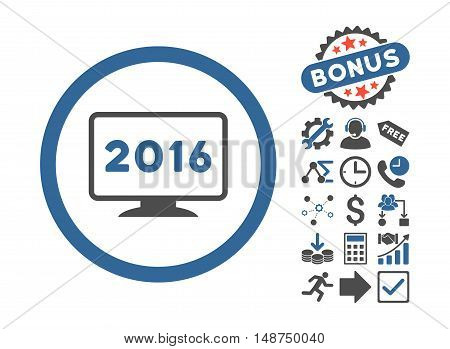 2016 Display icon with bonus pictograph collection. Glyph illustration style is flat iconic bicolor symbols, cobalt and gray colors, white background.