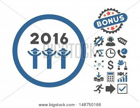 2016 Guys Dance pictograph with bonus pictogram. Glyph illustration style is flat iconic bicolor symbols, cobalt and gray colors, white background.