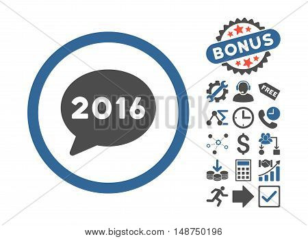 2016 Message icon with bonus clip art. Glyph illustration style is flat iconic bicolor symbols, cobalt and gray colors, white background.