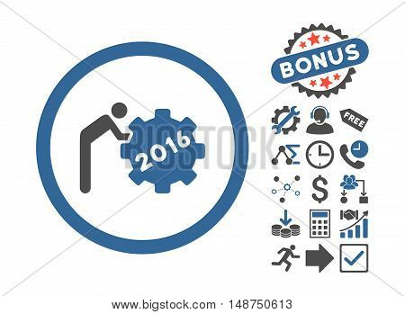 2016 Working Man icon with bonus symbols. Glyph illustration style is flat iconic bicolor symbols, cobalt and gray colors, white background.