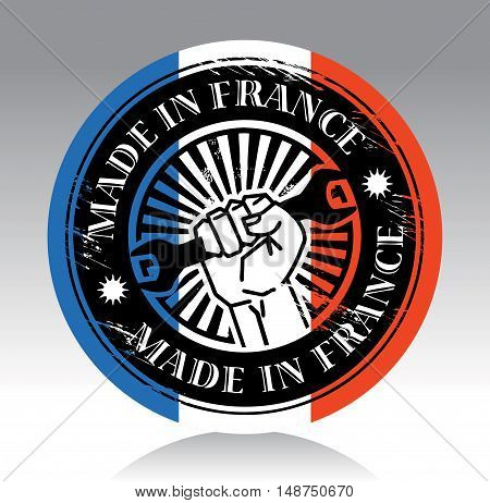 Abstract label with hand holding wrench and words made in france, vector illustration