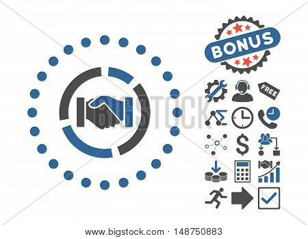 Acquisition Diagram pictograph with bonus elements. Glyph illustration style is flat iconic bicolor symbols, cobalt and gray colors, white background.