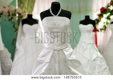 wedding dresses in bridal salon beautiful, purity, textile