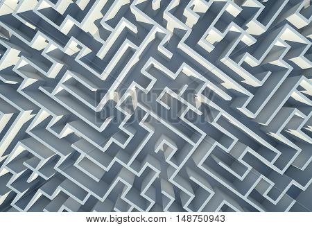 Labyrinth 3D Background Illustration. In the Labyrinth Maze Abstract.