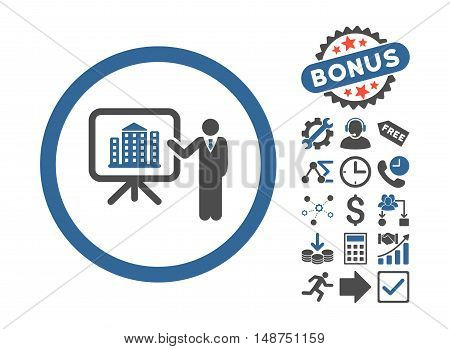 Architecture Presentation icon with bonus pictures. Glyph illustration style is flat iconic bicolor symbols, cobalt and gray colors, white background.