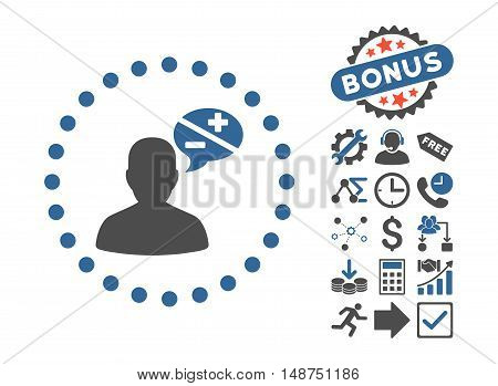 Arguments pictograph with bonus elements. Glyph illustration style is flat iconic bicolor symbols, cobalt and gray colors, white background.