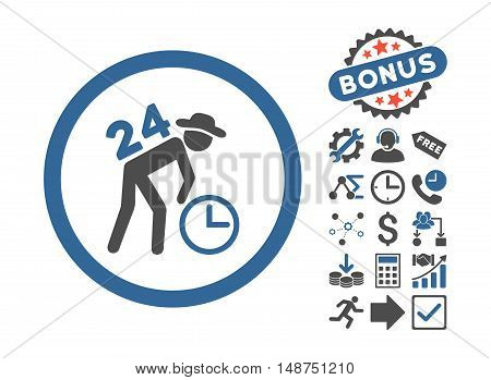 Around the Clock Work pictograph with bonus elements. Glyph illustration style is flat iconic bicolor symbols, cobalt and gray colors, white background.